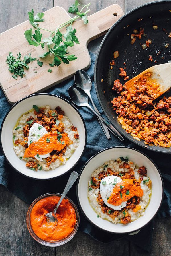 """<strong>Get the <a href=""""http://www.destinationdelish.com/savory-spanish-oatmeal/"""" target=""""_blank"""">Savory Spanish Oatmeal rec"""
