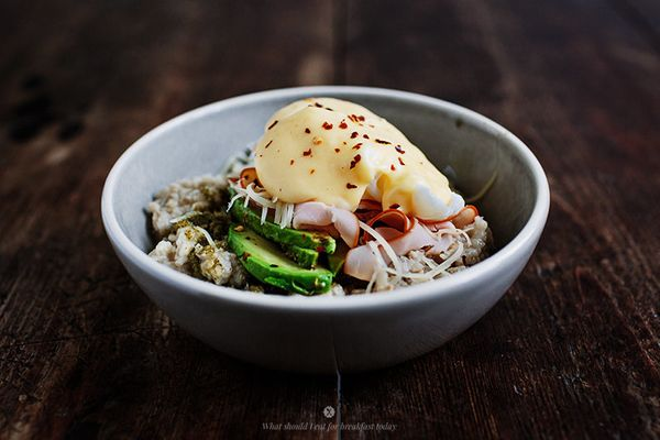 """<strong>Get the <a href=""""http://whatshouldieatforbreakfasttoday.com/post/93590053030/savoury-oatmeal-with-poached-egg-and-a-h"""