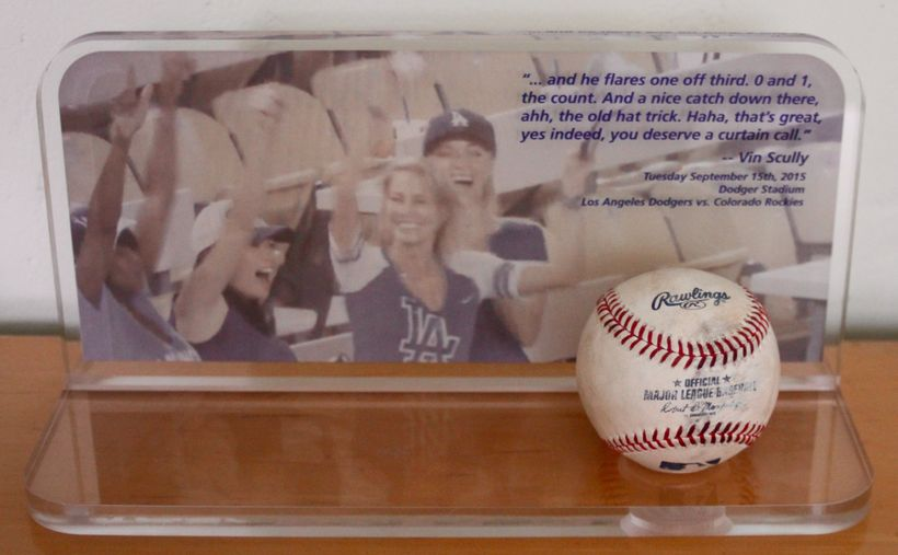 The plaque my brother, Smitty, made to commemorate the catch of a lifetime. Dodger Super Fan Moment Extraordinaire