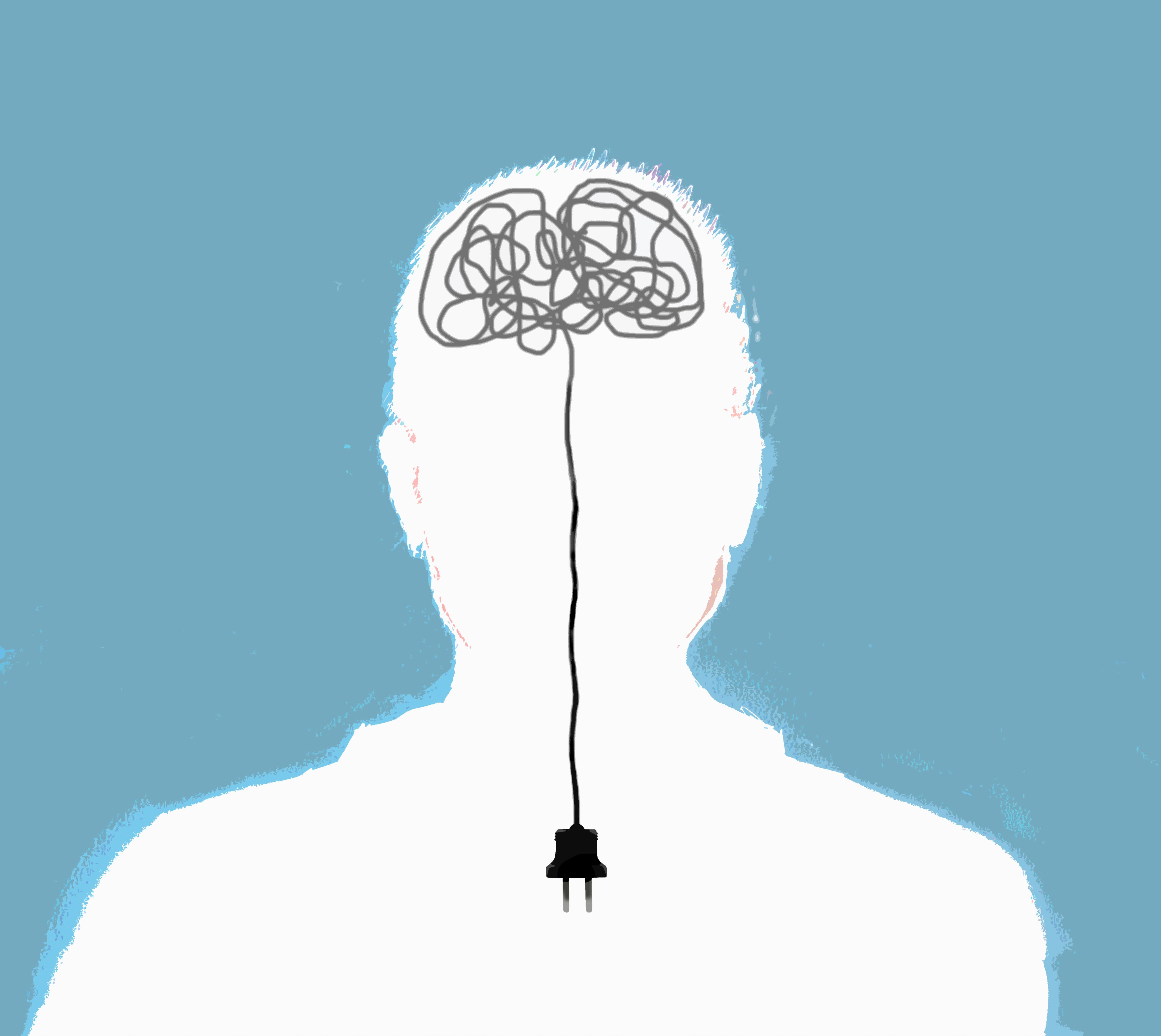 Man with unplugged tangled electric wires in brain