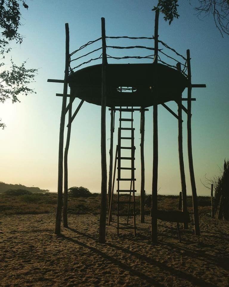 Newly constructed Air Temple from 25 foot tall, local Eucalyptus trees, Playa El Esteron, El Salvador.