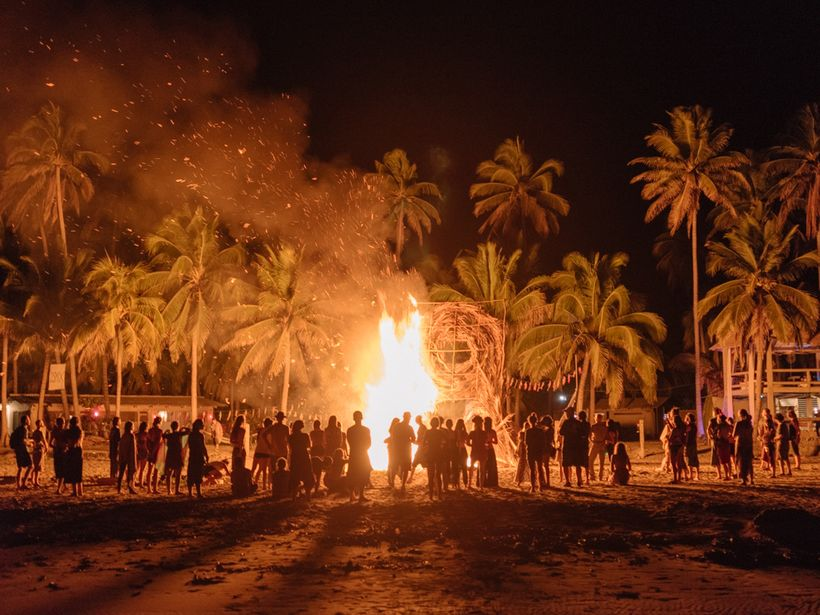 A sacred fire is kept burning throughout the entire gathering, here is the final burn.