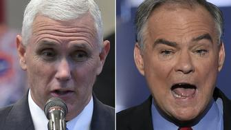 (COMBO) This combination of pictures created on October 3, 2016 shows Republican Vice Presidential nominee and running mate Mike Pence(L) speaking during the Midwest Vision and Values Pastors and Leadership Conference at the New Spirit Revival Center in Cleveland Heights, Ohio on September 21, 2016,and US Democratic Nominee for Vice President Tim Kaine speaking during the Democratic National Convention at the Wells Fargo Center in Philadelphia, Pennsylvania, July 27, 2016.  After a dramatic week of beauty queens, sex tape allegations and tax document leaks, the upcoming US vice presidential debate could feel like a throwback to simpler times.  Featuring low-key career politicians who are easily confused, the match-up between Democrat Tim Kaine and Republican Mike Pence in Farmville, Virginia likely won't exude the reality show vibes Americans have come to expect in the 2016 presidential election. Both VP picks have said their respective running mates Hillary Clinton and Donald Trump set a high bar in the first of three presidential debates, which drew a record 84 million viewers.   / AFP / MANDEL NGAN AND SAUL LOEB        (Photo credit should read MANDEL NGAN,SAUL LOEB/AFP/Getty Images)