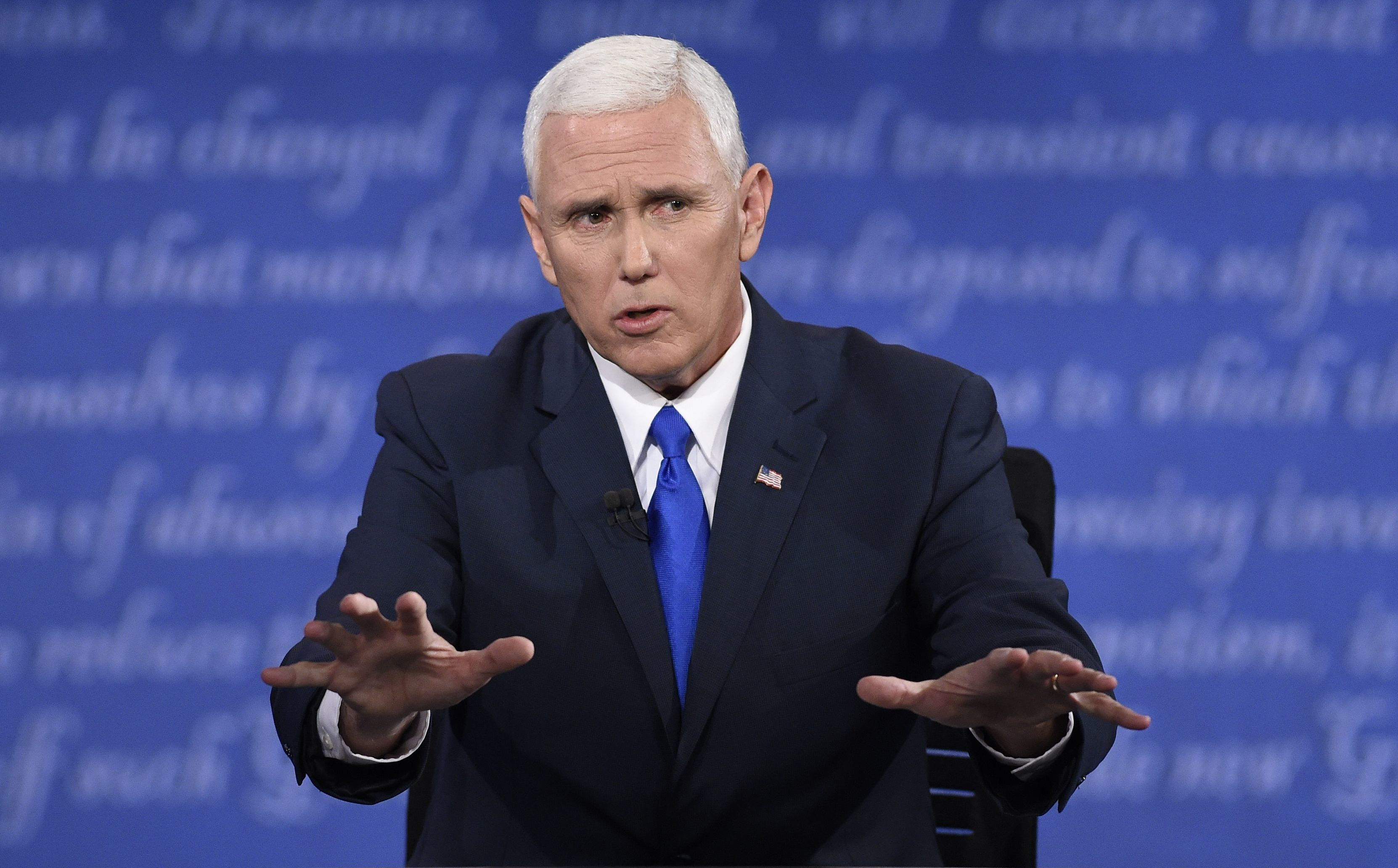 Republican vice presidential candidate Mike Pence speaks during the US vice presidential debate at Longwood University in Farmville, Virginia on October 4, 2016.    / AFP / SAUL LOEB        (Photo credit should read SAUL LOEB/AFP/Getty Images)