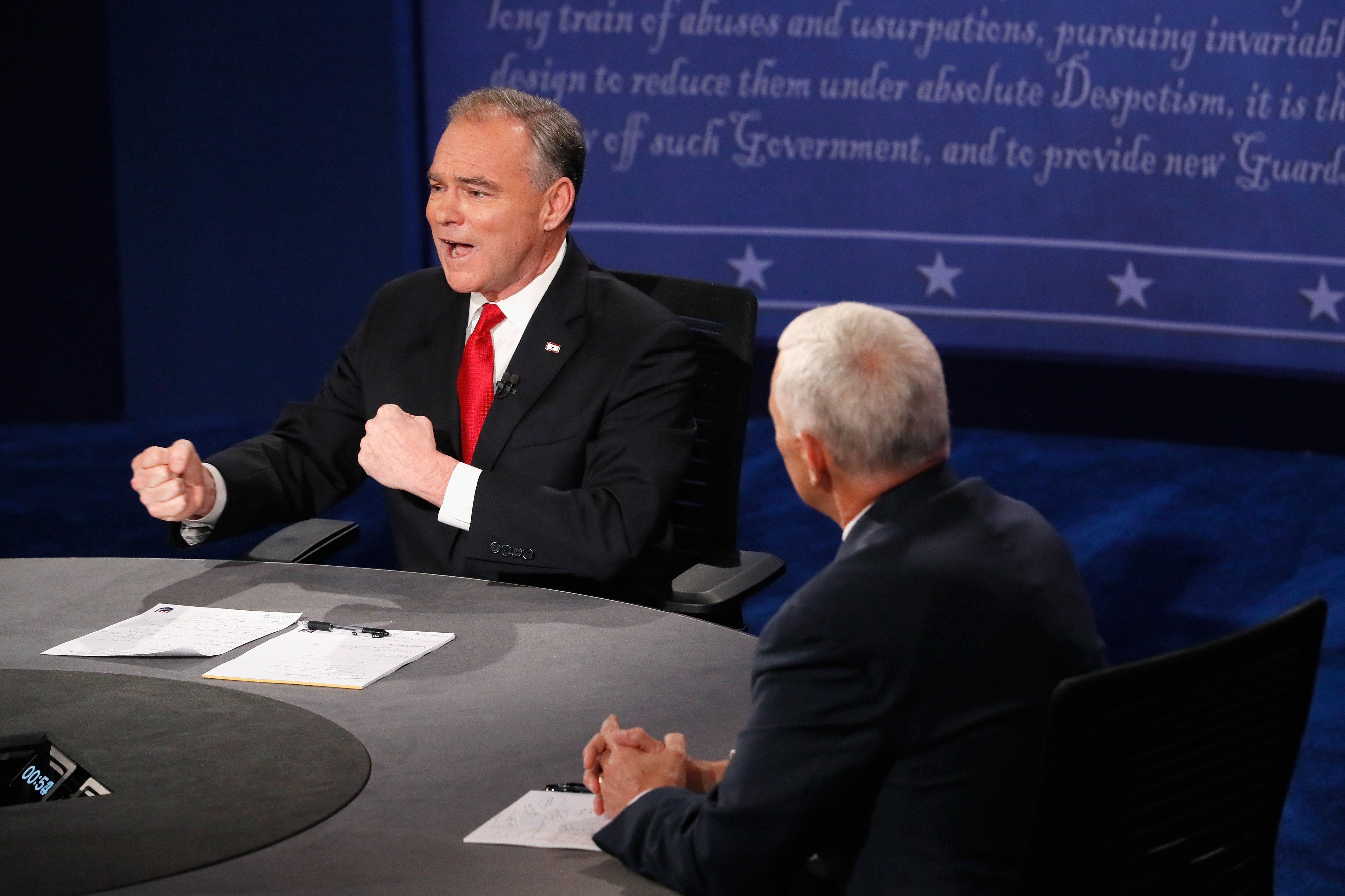 FARMVILLE, VA - OCTOBER 04:  Democratic vice presidential nominee Tim Kaine (L) and Republican vice presidential nominee Mike Pence (R) debate during the Vice Presidential Debate at Longwood University on October 4, 2016 in Farmville, Virginia.  This is the second of four debates during the presidential election season and the only debate between the vice presidential candidates.  (Photo by Andrew Gombert - Pool/Getty Images)