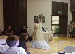 Bride Stuns Wedding Guests By Throwing Bouquet Through Basketball Hoop