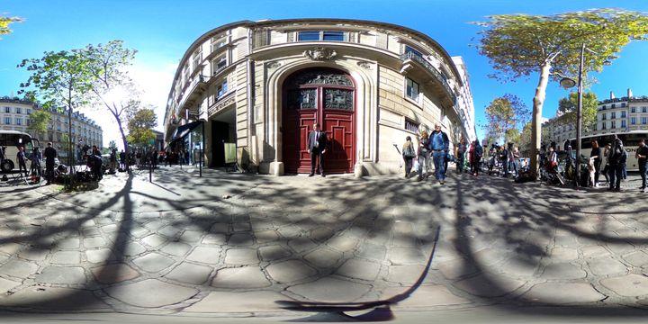 Media crews outside Kim Kardashian's luxury apartment atHôtel de Pourtalès on Rue Tronchet on Oct. 3 in Pa