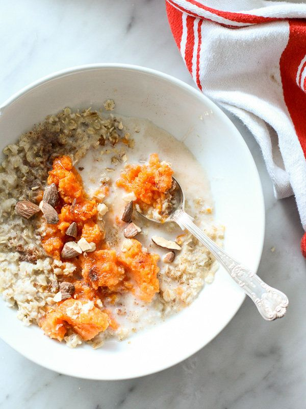 "<strong>Get the <a href=""http://www.foodiecrush.com/maple-brown-sugar-oatmeal-sweet-potato/"" target=""_blank"">Sweet Potato And"