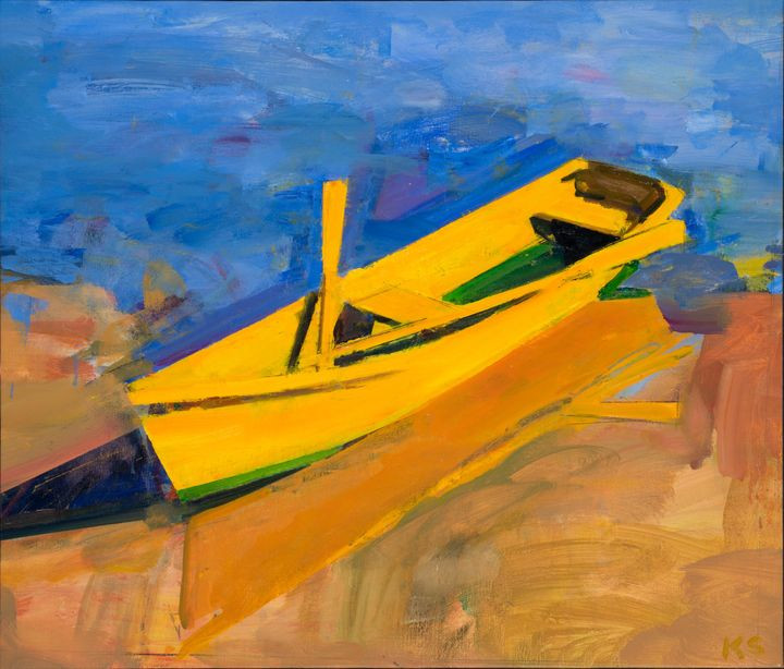 Yellow Boat Evening, Oil on linen, 24 in x 28 in.