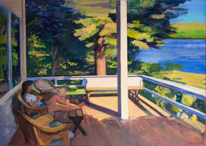 Bayside Porch, Oil on linen, 50 in x 70 in.