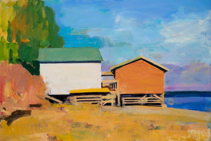 Boat Houses, Oil on linen, 24 in x 36 in.