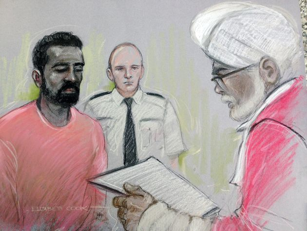 Court sketch of Simpson-Kent appearing before Mr Justice