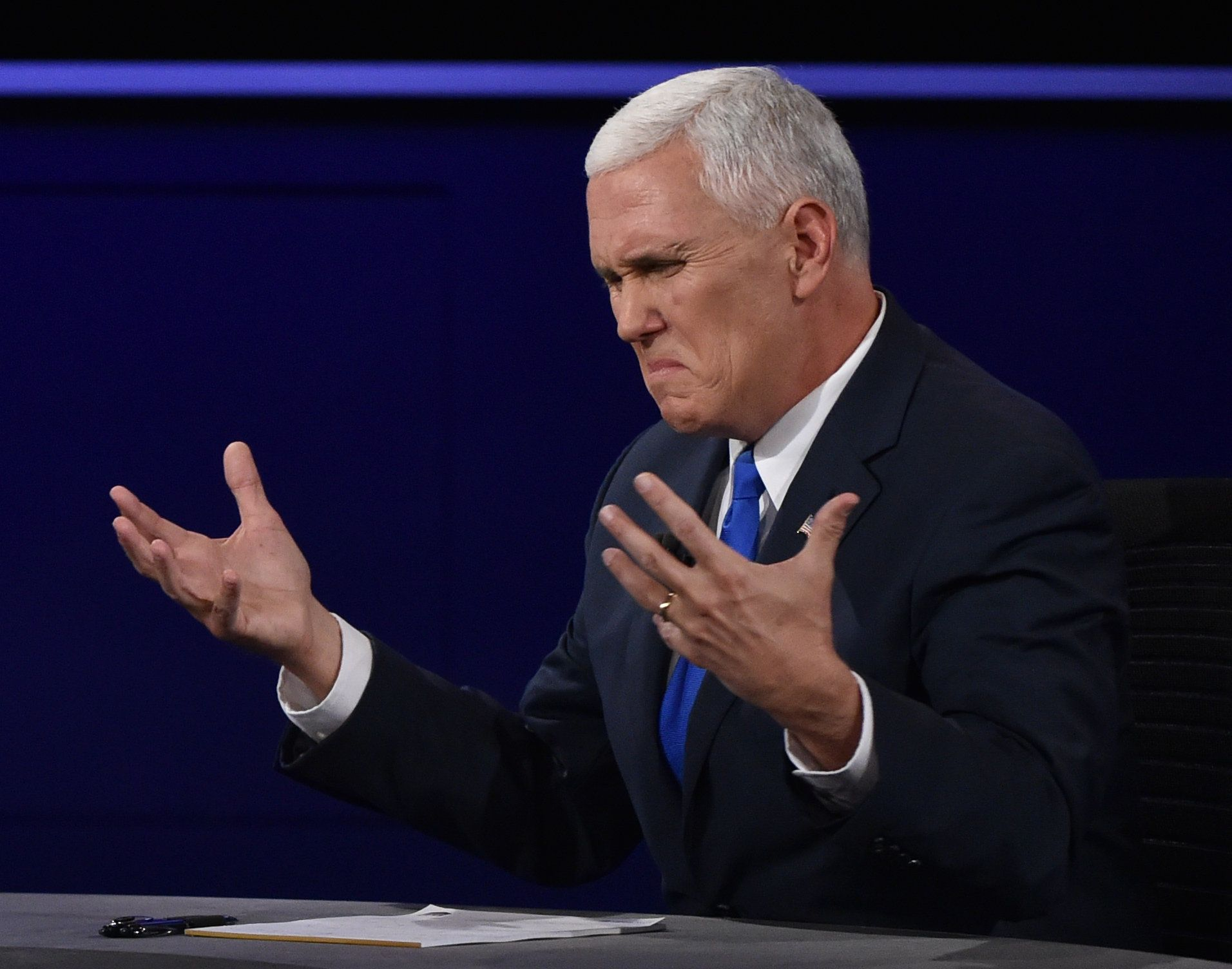 Republican vice presidential candidate Mike Pence participates in the US vice presidential debate at Longwood University in Farmville, Virginia on October 4, 2016.         / AFP / Paul J. Richards        (Photo credit should read PAUL J. RICHARDS/AFP/Getty Images)