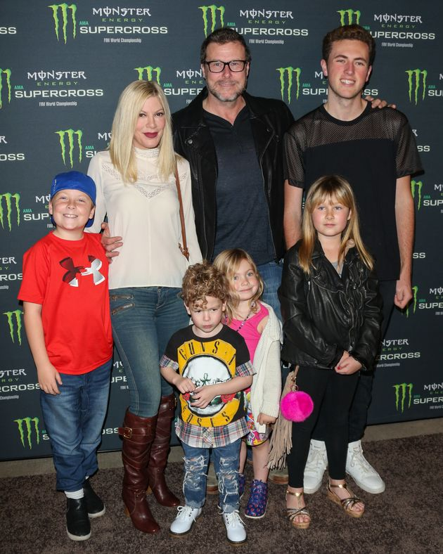 Tori Spelling and her Husband Dean McDermott with their kids attend the Monster Energy Supercross onJan....