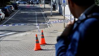 A security perimeter has been set around n the scene where two police officers were stabbed on October 5, 2016 in the Schaerbeek neighbourhood in Brussels. / AFP / BELGA / DIRK WAEM / Belgium OUT        (Photo credit should read DIRK WAEM/AFP/Getty Images)