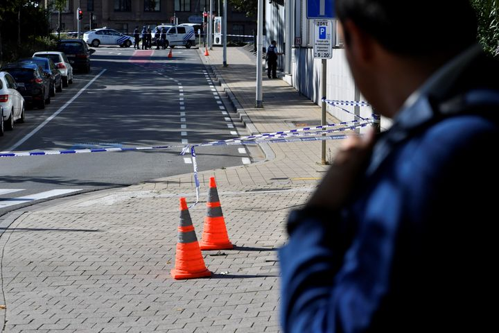 A security perimeter has been set around n the scene where two police officers were stabbed on October 5, 2016 in the Schaerb
