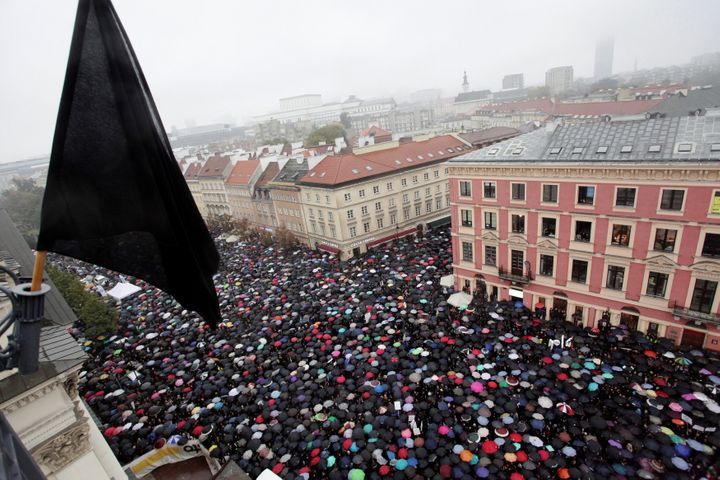 Thousands of people gather during an abortion rights campaigners' demonstration to protest against plans for a total ban on a