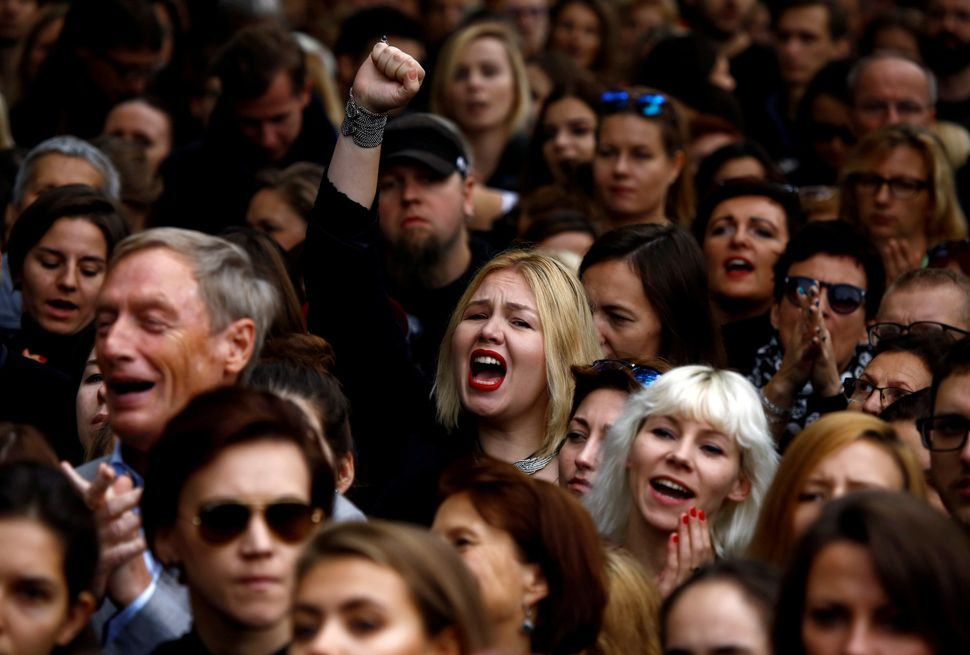Men and women chant in Warsaw during Black Monday protests.