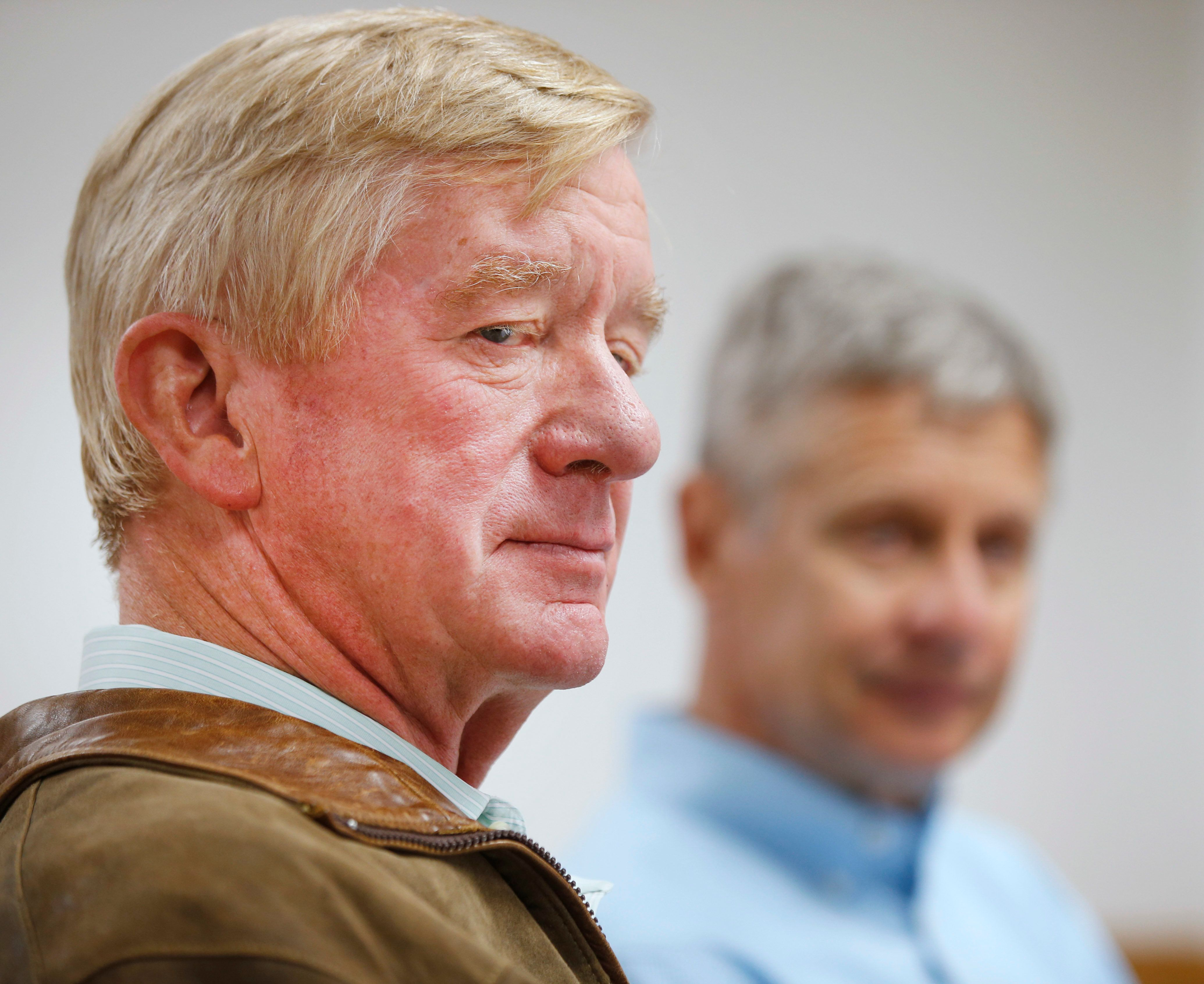 SALT LAKE CITY, UT - AUGUST 6: Libertarian presidential candidate Gary Johnson (R), and his running mate Bill Weld (L), talk to the press before a rally on August 6, 2015 in Salt Lake City, Utah. Johnson and Weld have spent the day campaigning in Salt Lake City, the home town of former republican presidential candidate Mitt Romney.  (Photo by George Frey/Getty Images)