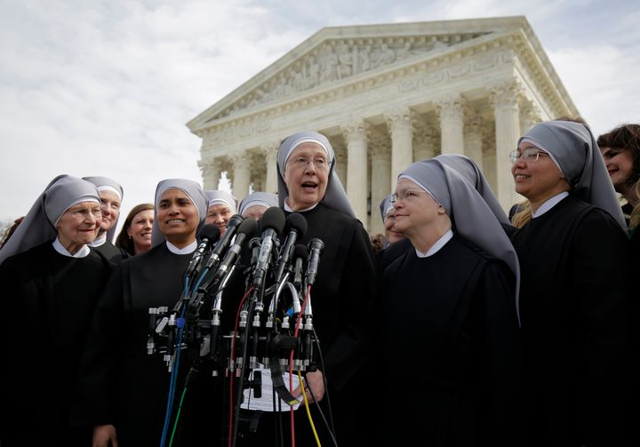 Sister Loraine McGuire with Little Sisters of the Poor speaks to the media after Zubik v. Burwell, an appeal brought by Chris