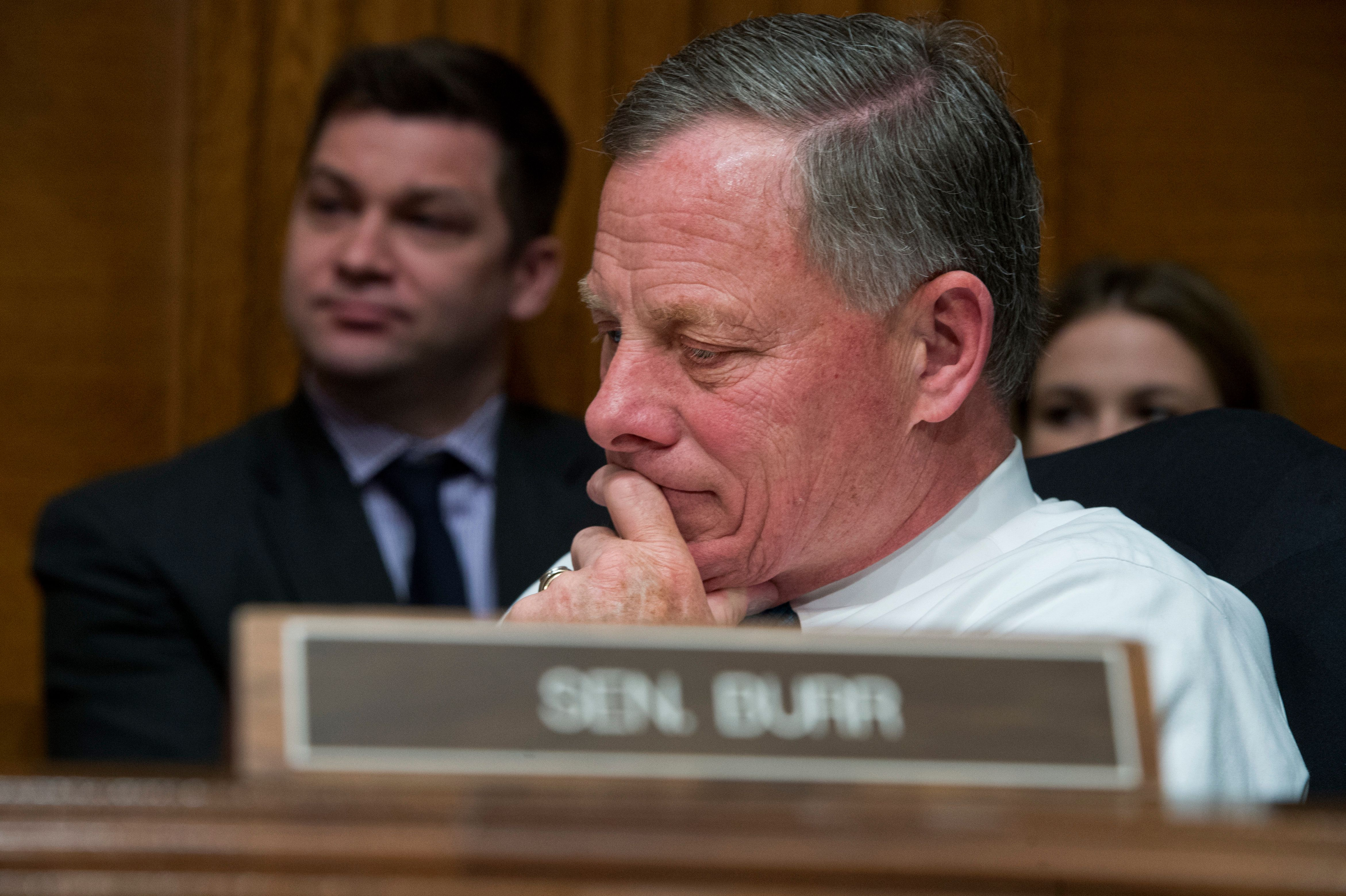 UNITED STATES - APRIL 12: Sen. Richard Burr, R-N.C., attends a Senate Committee on Health, Education, Labor and Pensions hearing in Dirksen Building on the implementation of the Every Student Succeeds Act, featuring testimony by Education Secretary Dr. John King, April 12, 2016. (Photo By Tom Williams/CQ Roll Call)