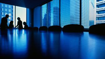 Executives at end of conference table, silhouette