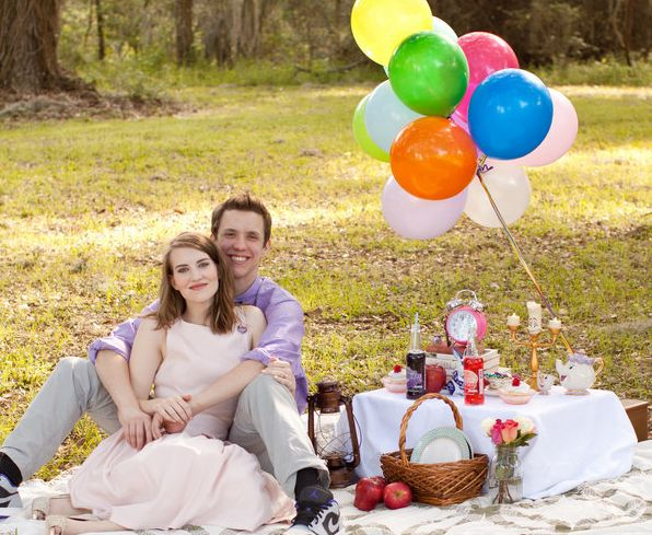 A shot from Ashley and Ty's Disney-themed engagement session.