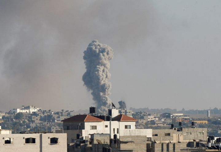 Smoke rises following what witnesses said was an Israeli air strike, east of Gaza City October 5, 2016.