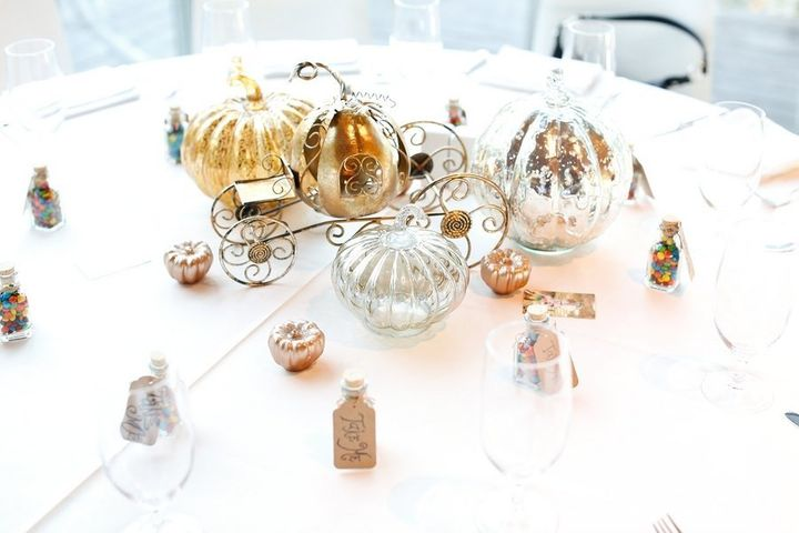 """""""Cinderella"""" table with the pumpkin carriage."""