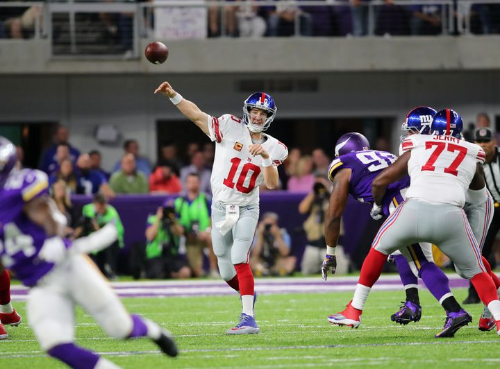 Quarterback Eli Manning is still productive, but his inability to escape pressure coupled with a porous offensive line makes