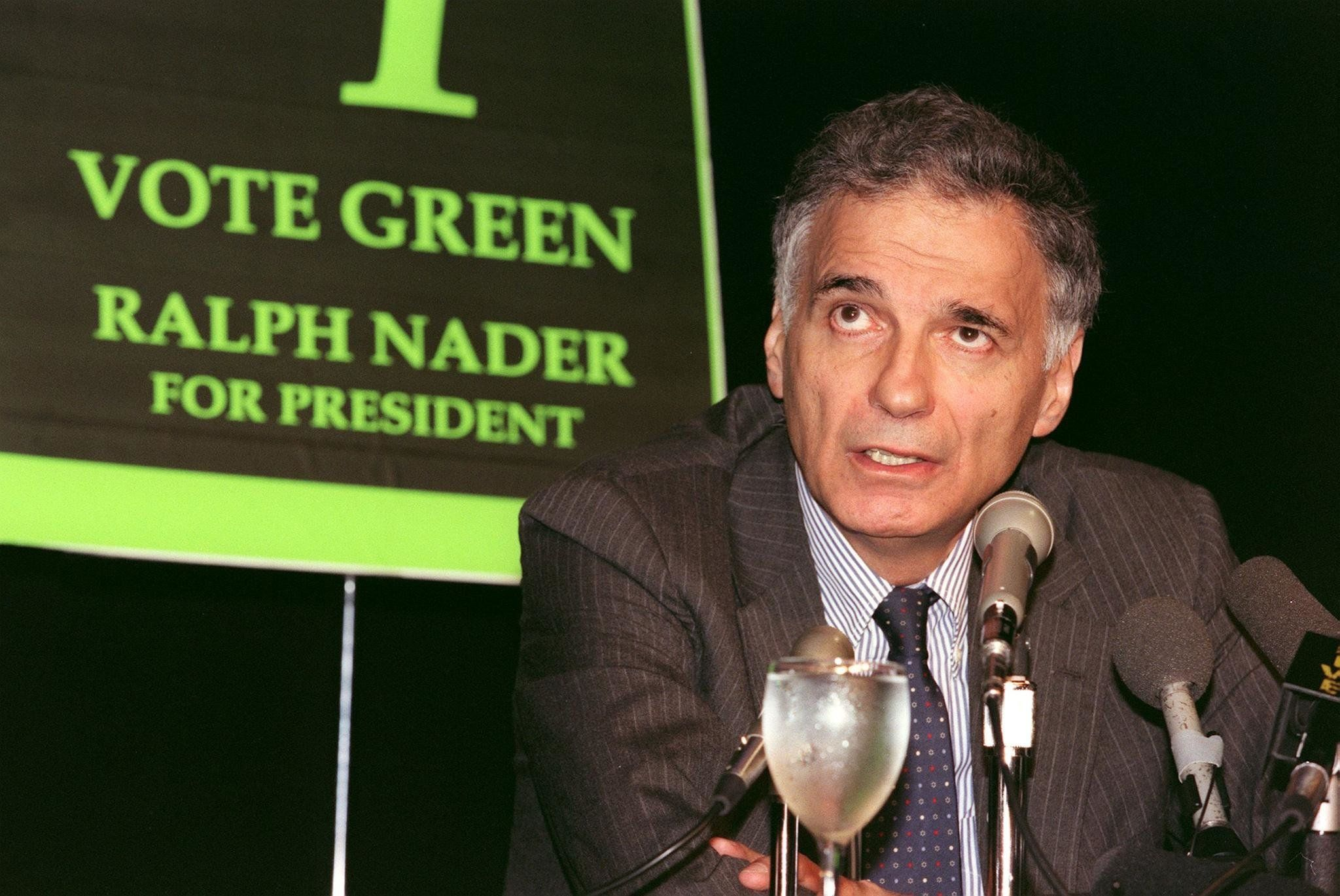 LOS ANGELES, UNITED STATES:  US consumer rights activist Ralph Nader shown in a file photo dated 19 August 1996 speaking to reporters at a news conference at the University of California of Los Angeles. Nader was the Green Party's US presidential candidate in 1996. (Photo credit should read Vince Bucci/AFP/Getty Images)