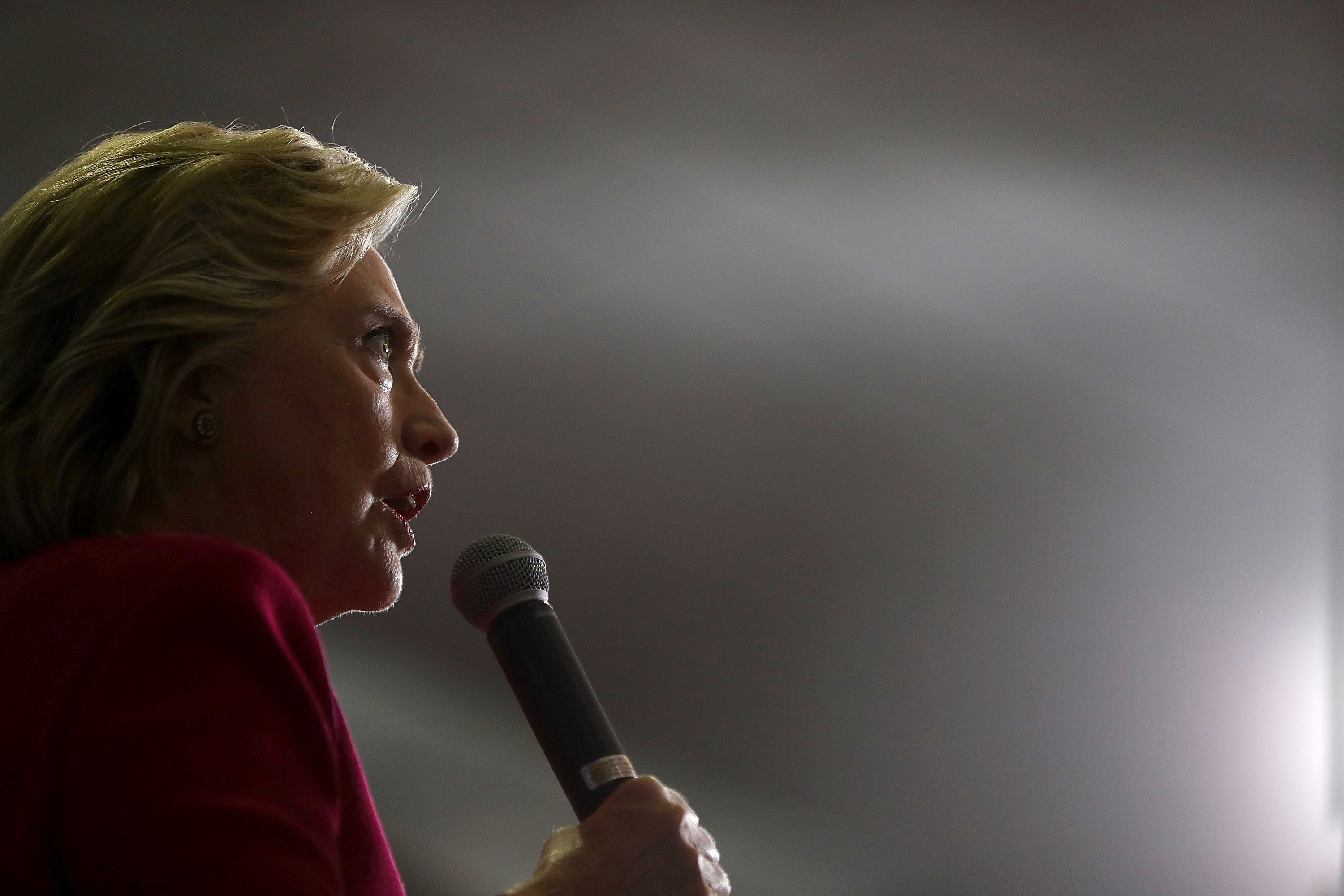 HARRISBURG, PA - OCTOBER 04:  Democratic presidential nominee former Secretary of State Hillary Clinton speaks during a Pennsylvania Democrats voter registration event at Zembo Shrine on October 4, 2016 in Harrisburg, Pennsylvania. Hillary Clinton is campaigning in Pennsylvania.  (Photo by Justin Sullivan/Getty Images)