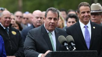 NEW YORK, NY - SEPTEMBER 29: Governor of New Jersey Chris Christie delivers a speech during a press conference after a NJ Transit train crashed in to the platform at Hoboken Terminal on September 29, 2016 in Hoboken, New Jersey. More than 100 people were injured Thursday, many critically, when a commuter train crashed into a station during the morning rush hour in Hoboken, New Jersey, officials said. At least one person was killed, according to unconfirmed reports.    (Photo by Mohammed Elshamy/Anadolu Agency/Getty Images)