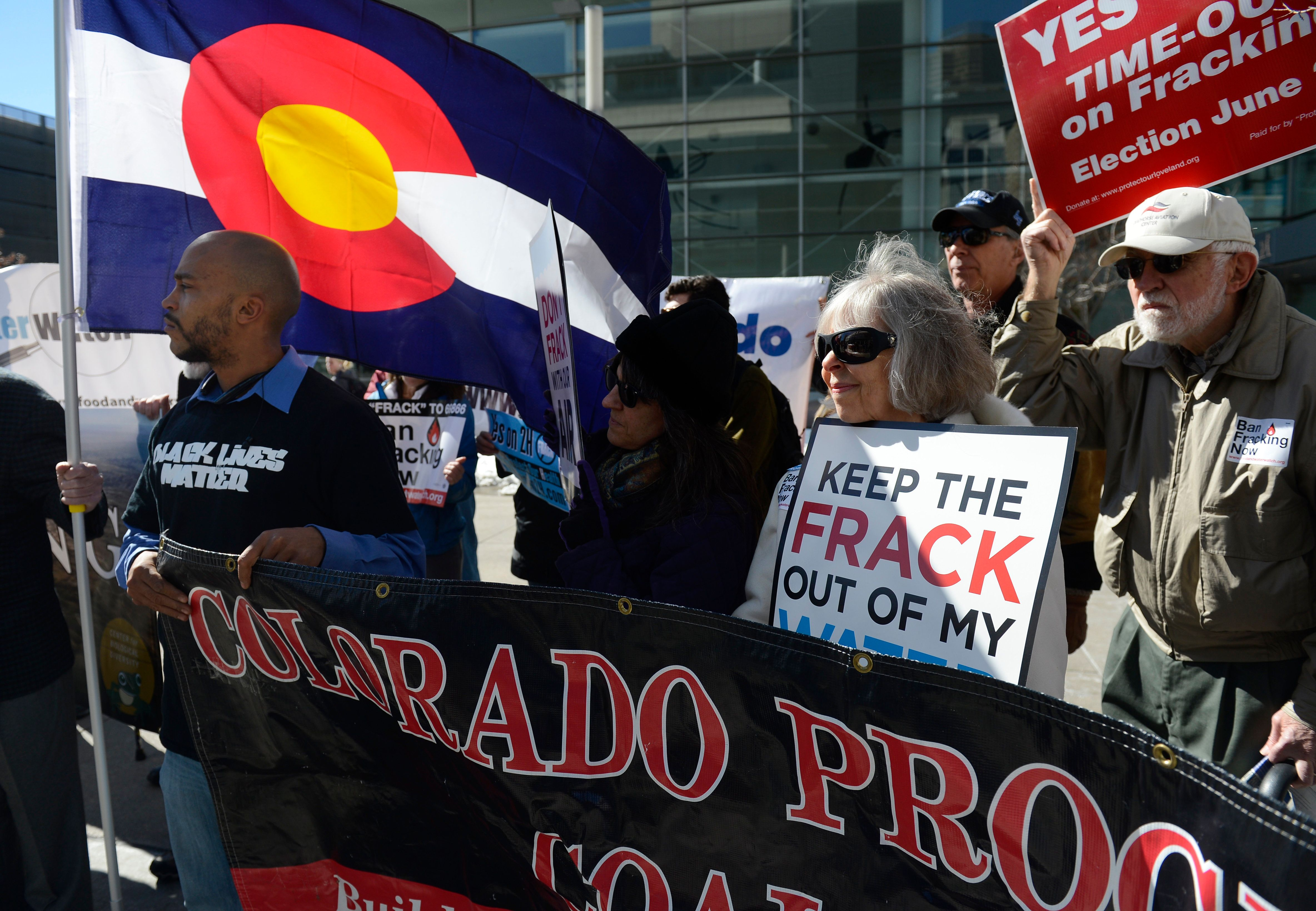 DENVER, CO - FEBRUARY 24: Anti-fracking activists gather outside of the Colorado Convention Center while an Oil and Gas Task Force meeting was taking place February 24, 2015. (Photo by Andy Cross/The Denver Post via Getty Images)