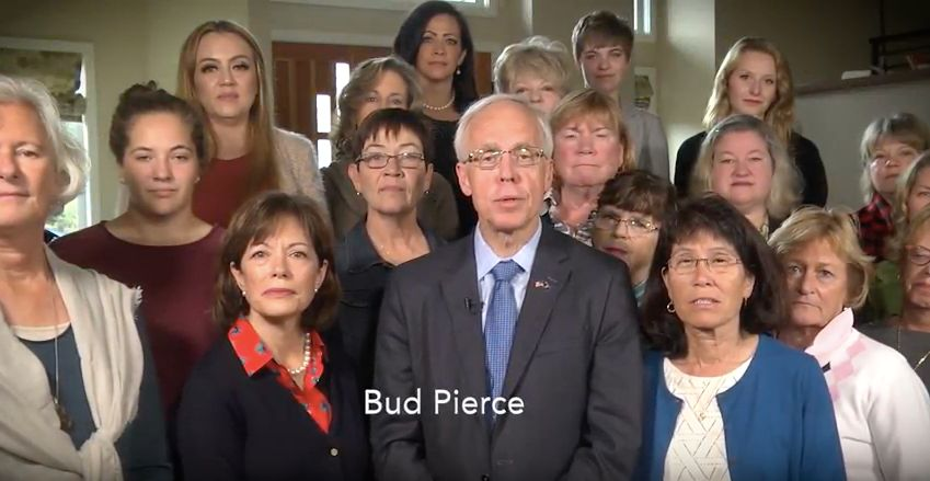 Bud Pierce shows he stands with women by literally standing with women.
