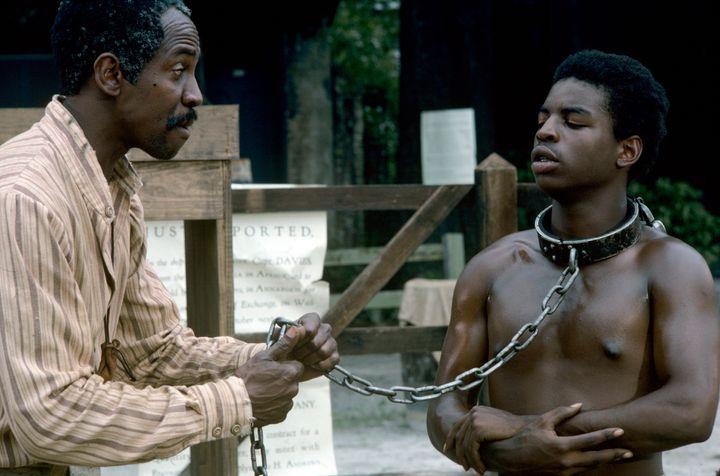 """A still from """"Roots"""" starring Levar Burton as Kunta Kinte."""