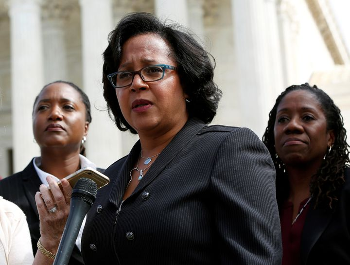 NAACP Legal Defense Fund attorney Christina Swarns addresses the media following oral arguments at the U.S. Supreme Court in