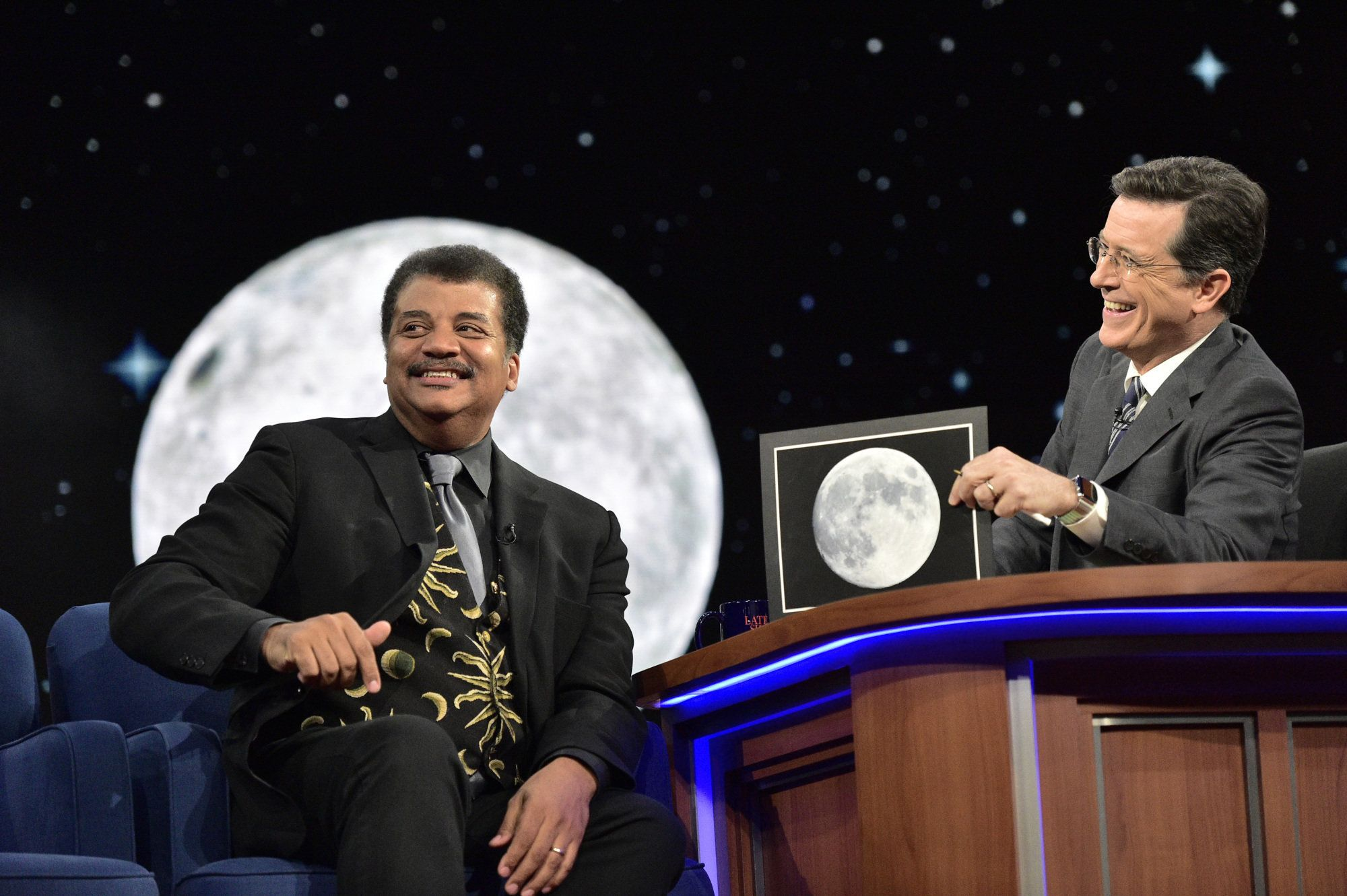 NEW YORK - JUNE 22: The Late Show With Stephen Colbert: For the 6/22/2016 broadcast  Neil Degrasse Tyson, explains to host Stephen Colbert 'The woman in the moon' during Wednesday's taping in New York.  (Photo by John Paul Filo/CBS via Getty Images)