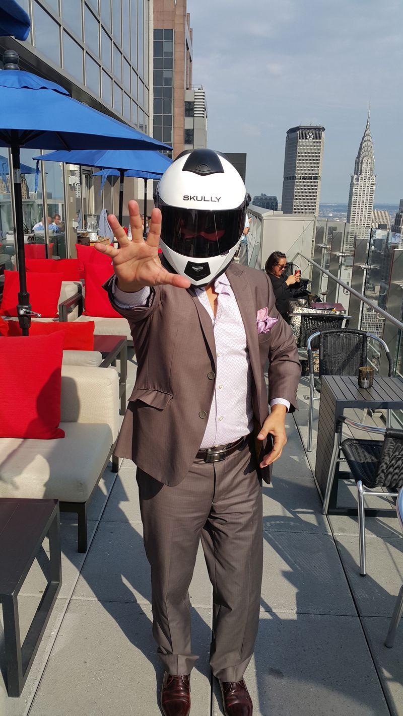 David Drake feeling the SKULLY helmet