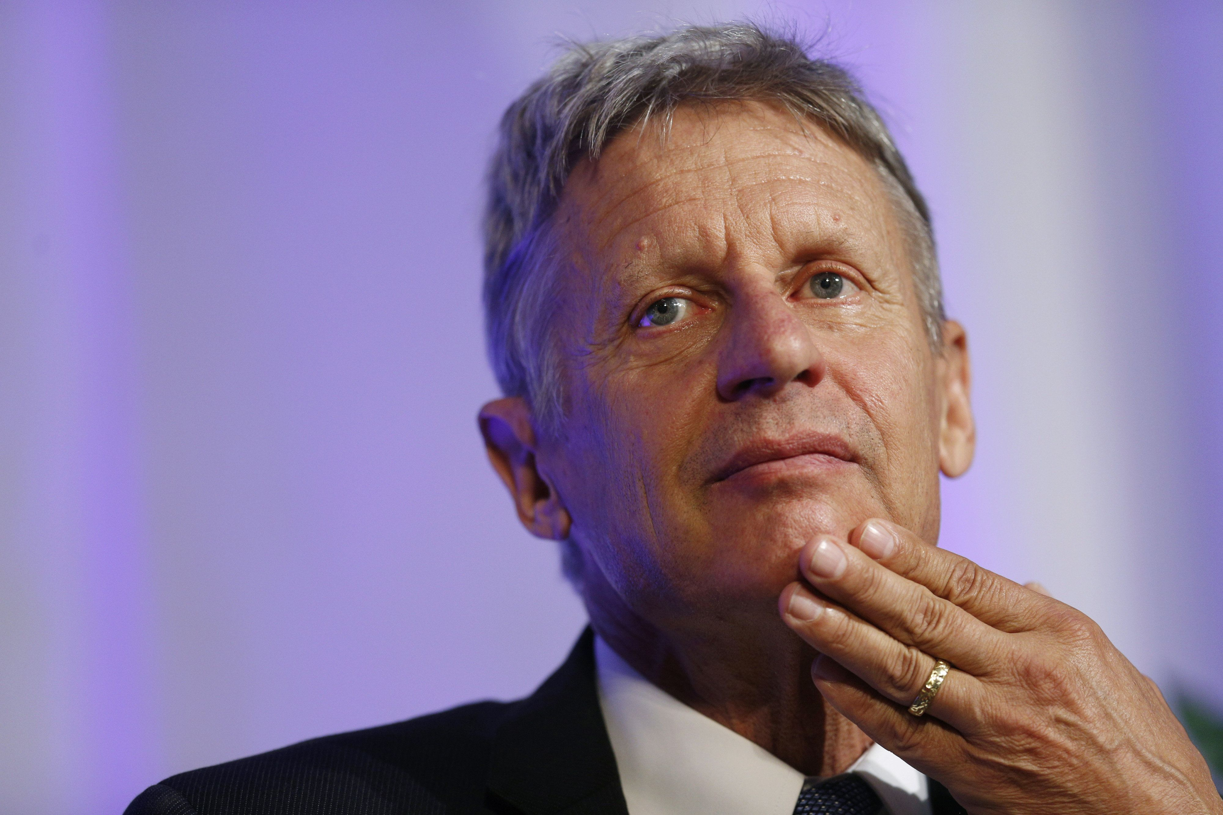 Gary Johnson, 2016 Libertarian presidential nominee, listens to questions from audience members during a campaign event at Purdue University in West Lafayette, Indiana, U.S., on Tuesday, Sept. 13, 2016. Johnson said he was 'incredibly frustrated' with himself after failing to recognize the name of the Syrian city of Aleppo in a TV interview last week. Photographer: Luke Sharrett/Bloomberg via Getty Images