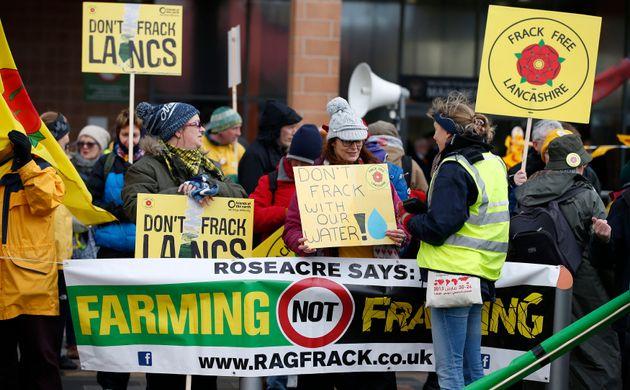 Anti-fracking protestors in