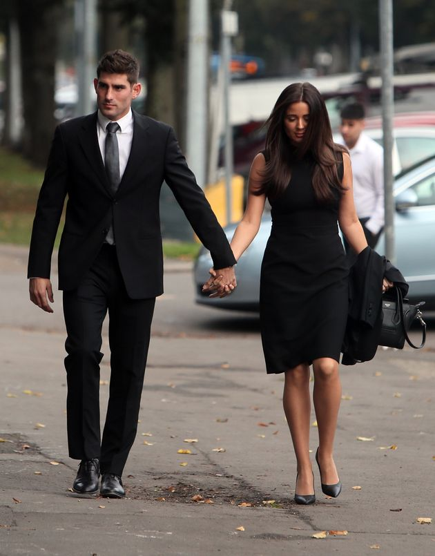 Footballer Ched Evans with partner Natasha Massey, arriving at Cardiff Crown