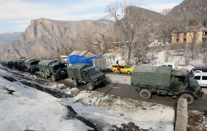 A Turkish military convoy in the south-eastern Turkish border town of Cukurca, bordering Iraq.Turkey's parliament voted last week to extend the deployment of an estimated 2,000 troops across northern Iraq by a year.