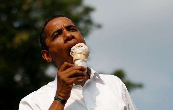 Obama enjoying an ice cream cone.