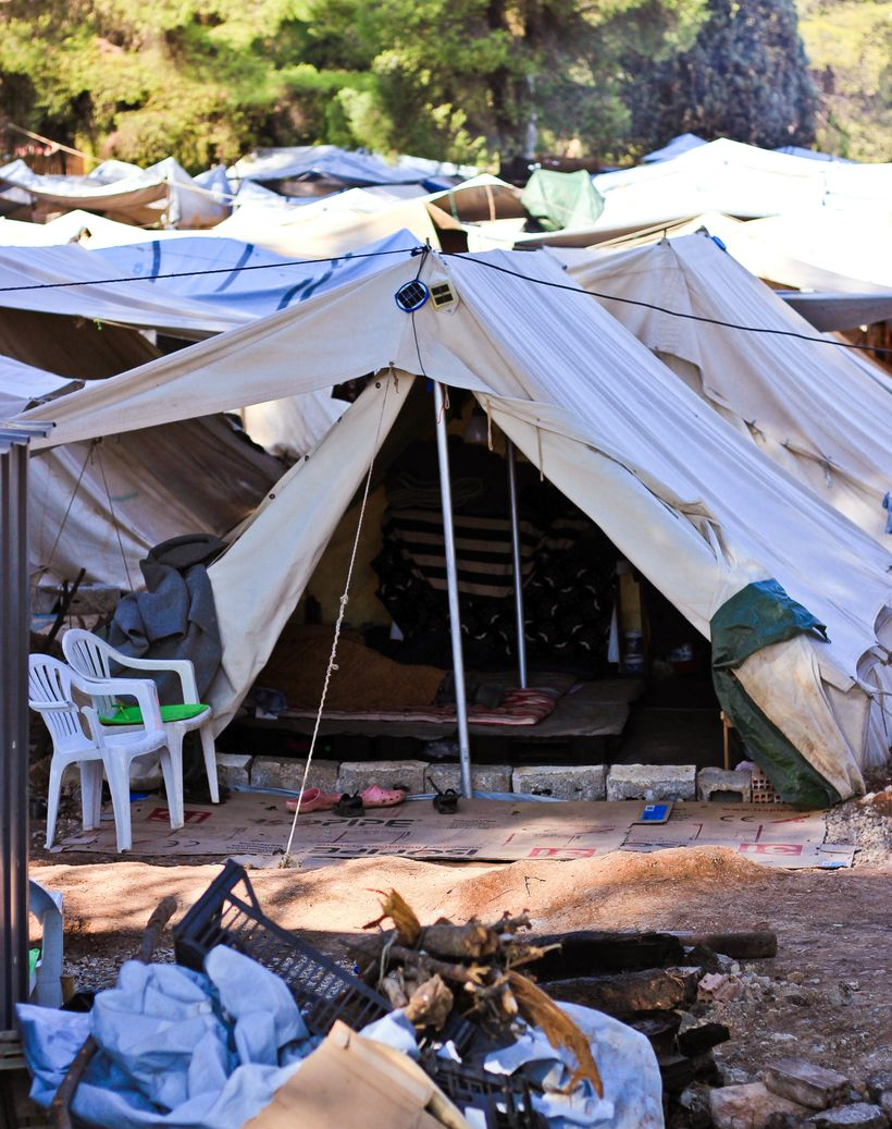 A tent at Ritsona Refugee Camp.