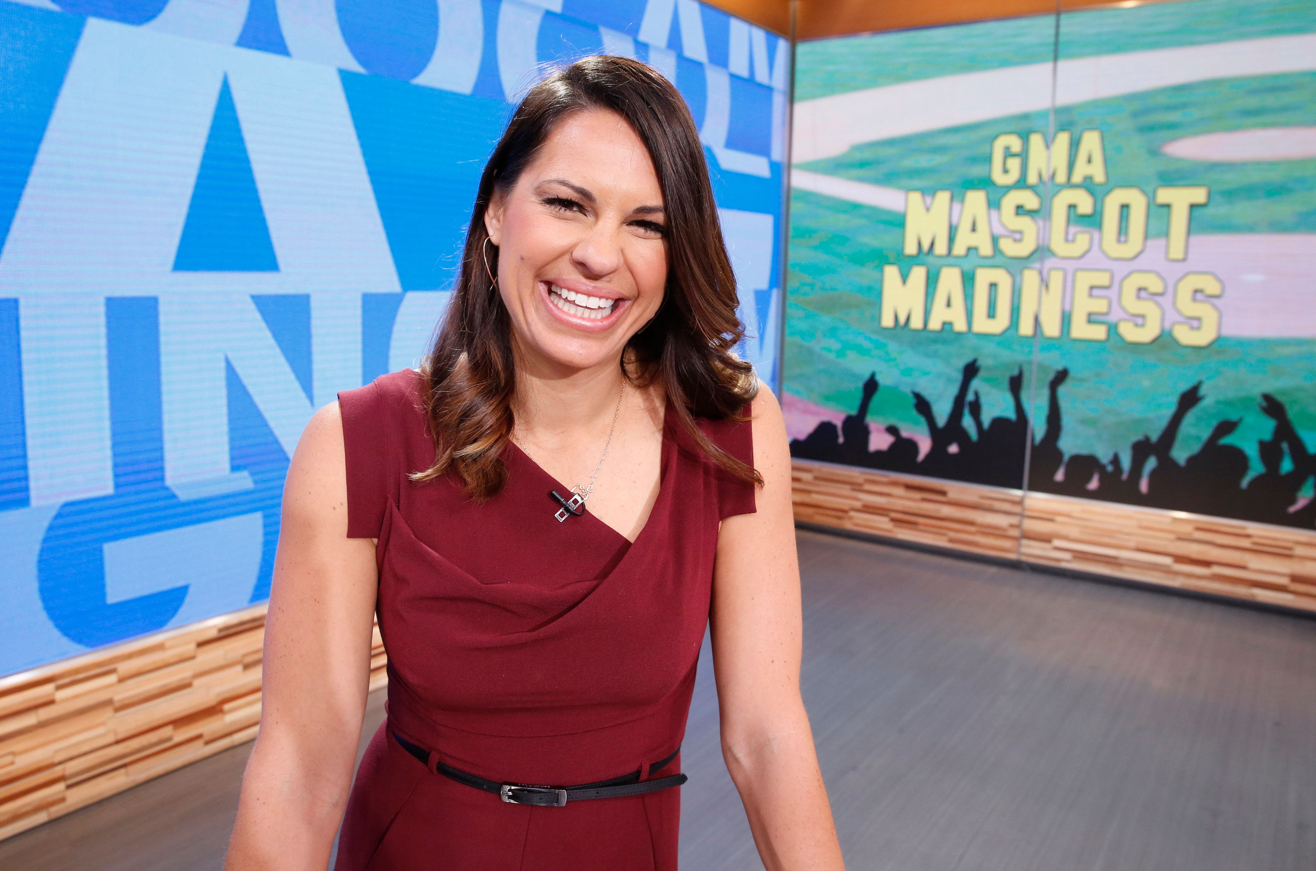 GOOD MORNING AMERICA - Jessica Mendoza of ESPN and the mascots of the MLB kick off baseball season on 'Good Morning America,' 4/1/16, airing on the ABC Television Network.   (Photo by Heidi Gutman/ABC via Getty Images)  JESSICA MENDOZA