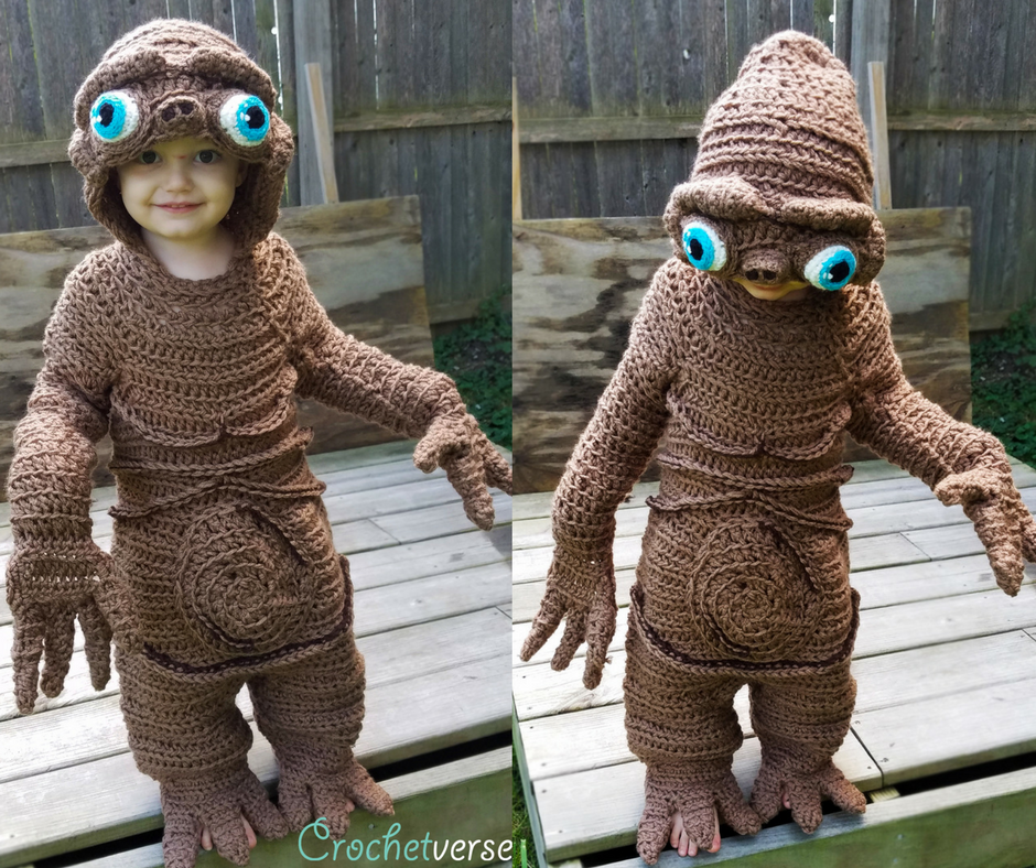 """Stephanie Pokorny crocheted this """"E.T."""" costume for her son in four days."""
