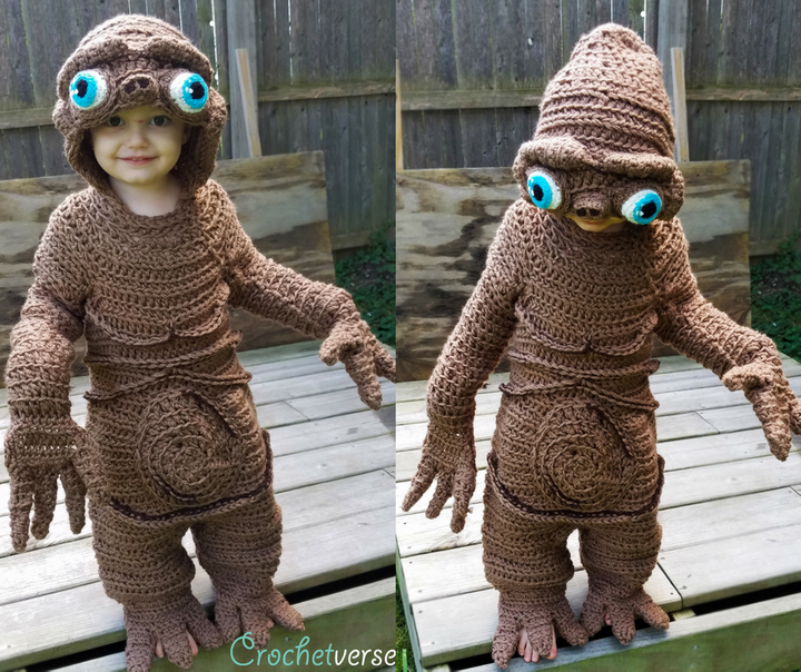 "Stephanie Pokorny crocheted this ""E.T."" costume for her son in four days."