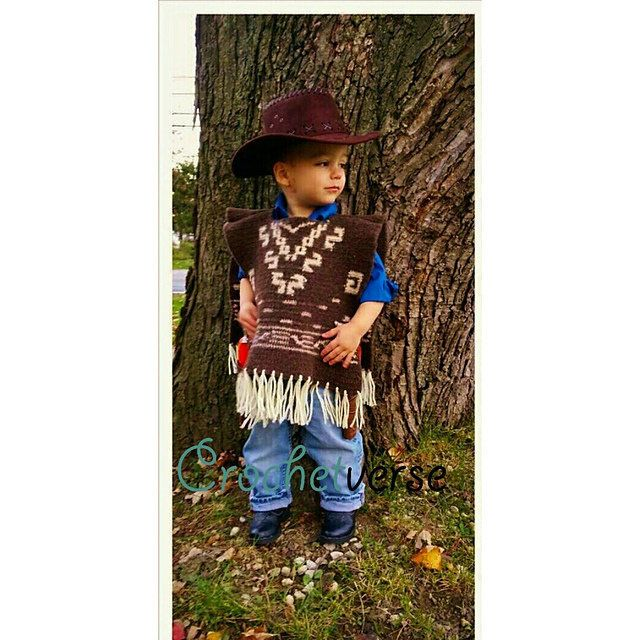 "Pokorny's son, Jake, rocked a crocheted version of Clint Eastwood's poncho in ""The Good, the Bad and the Ugly."""