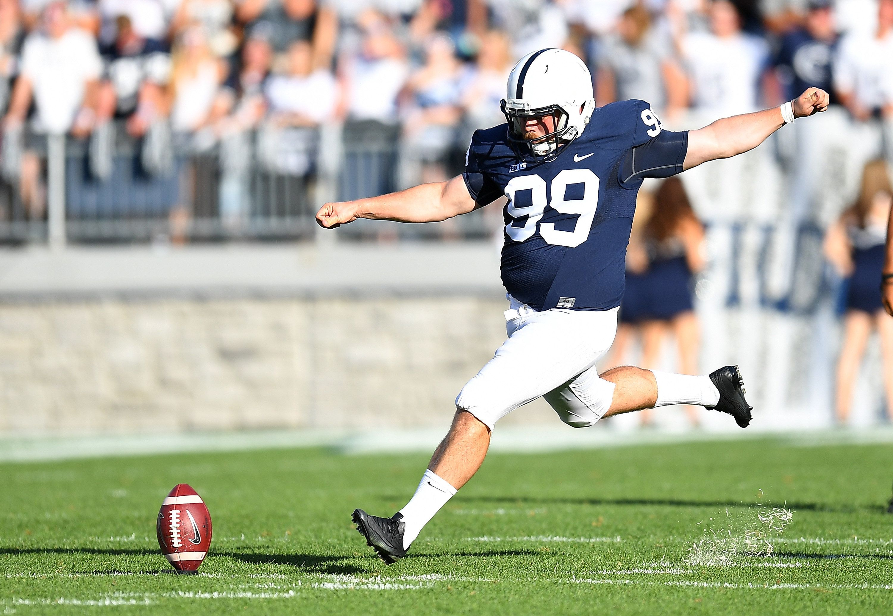 STATE COLLEGE, PA - SEPTEMBER 3:  Joey Julius #99 of the Penn State Nittany Lions in action during the game against the Kent State Golden Flashes at Beaver Stadium on September 3, 2016 in State College, Pennsylvania.  (Photo by Joe Sargent/Getty Images) *** Local Caption ***